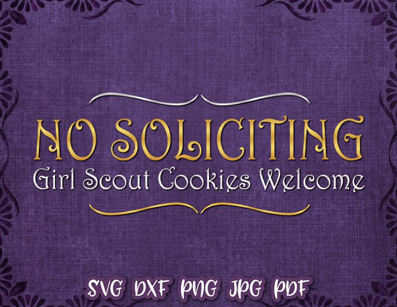 No Soliciting Sign Girl Scout Cookies Welcome Door Mat Print Artwork