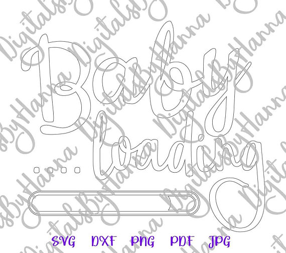 Baby Loading Silhouette DXF Digital Clipart Gift