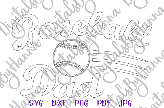 Baseball Dad Silhouette DXF Digital Clipart Gift