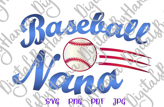 Baseball Nana DIY Instant Download Die Cut Iron on Vinyl Card Making