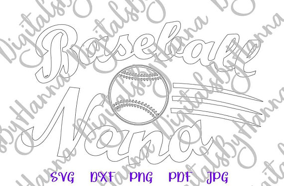 Baseball Nana Silhouette DXF Digital Clipart Gift