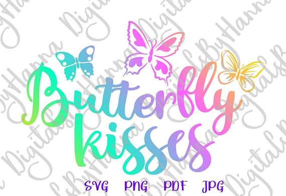 Butterfly Kisses DIY Instant Download Die Cut Iron on Vinyl Card Making