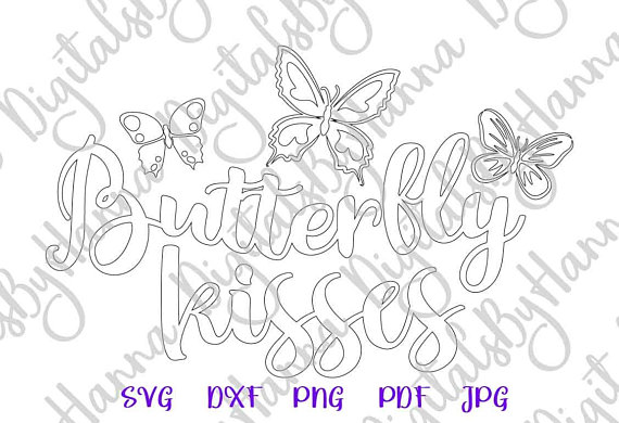 Butterfly Kisses Silhouette DXF Digital Clipart Gift