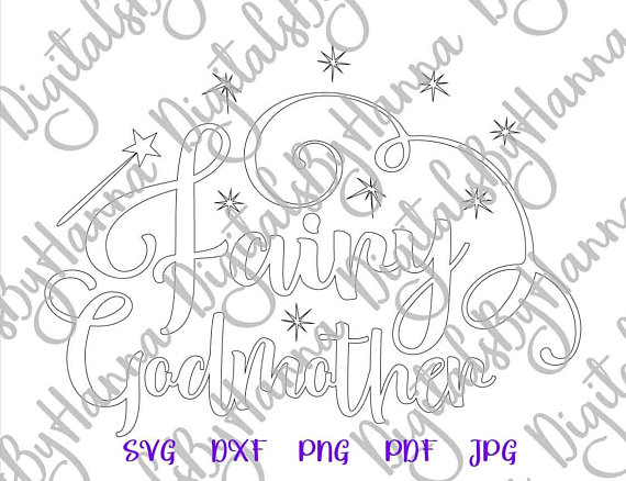 Fairy Godmother Silhouette DXF Digital Clipart Gift