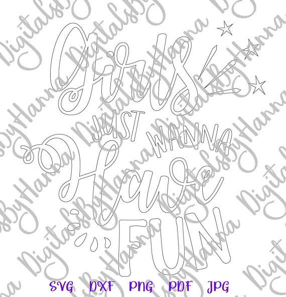 Girls Fun Silhouette DXF Digital Clipart Gift