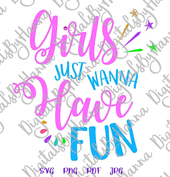 Girls Fun Word Vector Clipart SVG File for Cricut