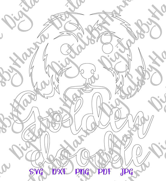 Golden Doodle Silhouette DXF Digital Clipart Gift