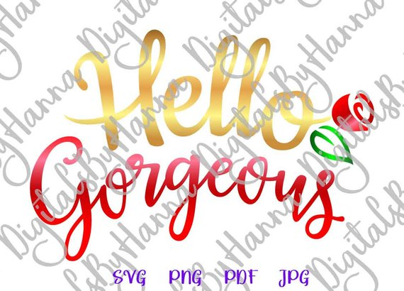 Hello Georgeous Instant Download Die Cut Iron on Vinyl Card Making