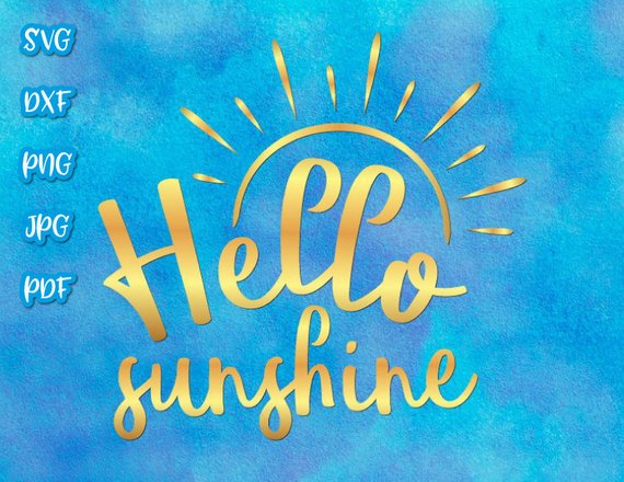 Hello Sunshine Vector Clipart SVG File for Cricut