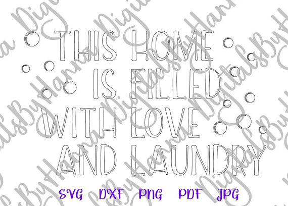 Laundry Room Silhouette DXF Digital Clipart Gift