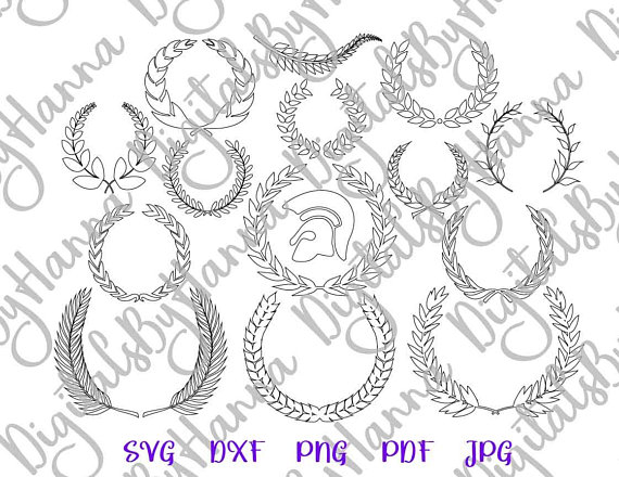 Laurel Wreath Silhouette DXF Digital Clipart Gift
