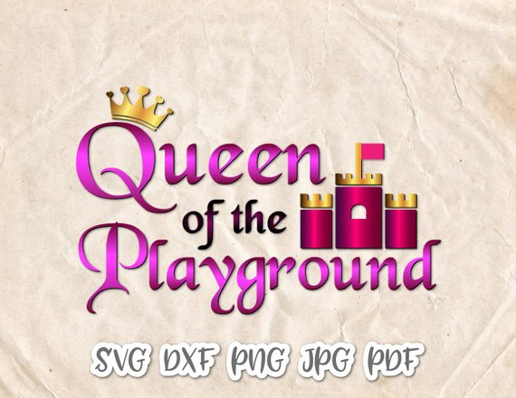 Little Girl Queen Playground SVG Vector Clipart