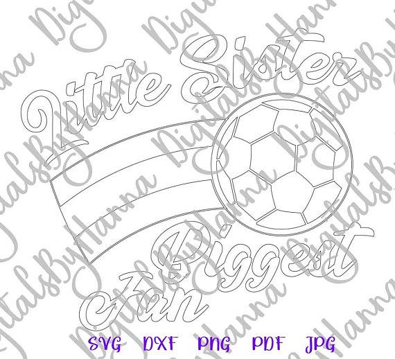 Little Sister Soccer Silhouette DXF Digital Clipart Gift