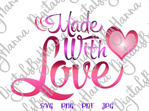 Made with Love DIY Instant Download Die Cut Iron on Vinyl Card Making