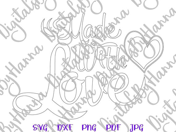 Made with Love Silhouette DXF Digital Clipart Gift