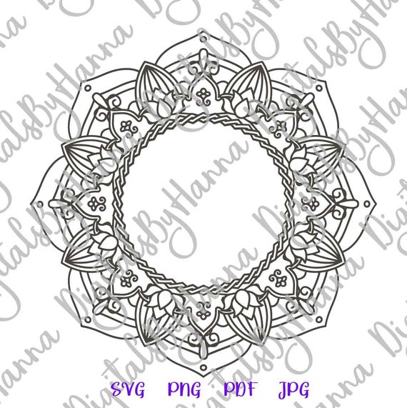 Mandala Monogram SVG Silhouette SVG Vector Digital Clipart Bag
