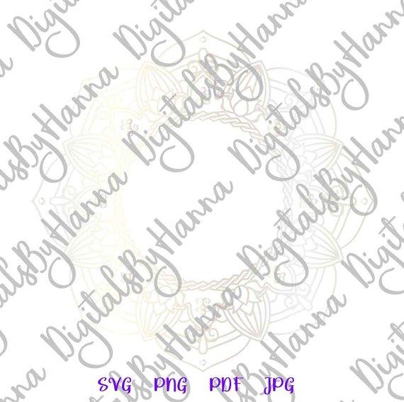 Mandala Monogram Silhouette DXF Stencil Clipart Gift