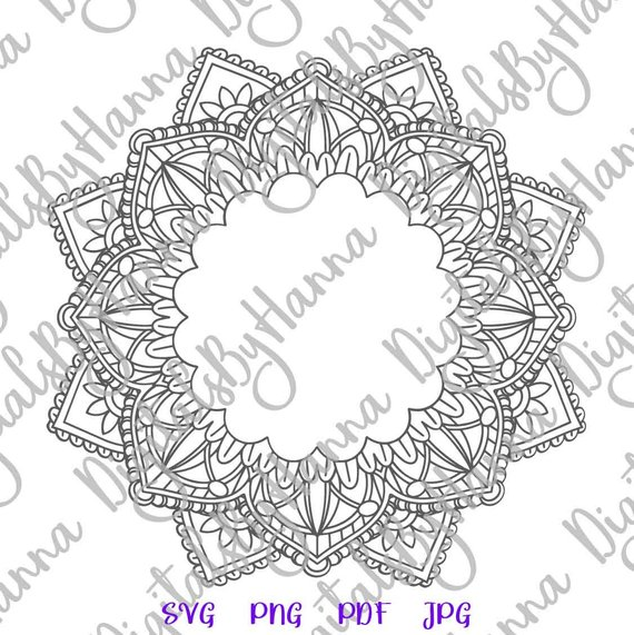Mandala Monogram Silhouette SVG Vector Digital Clipart Bag