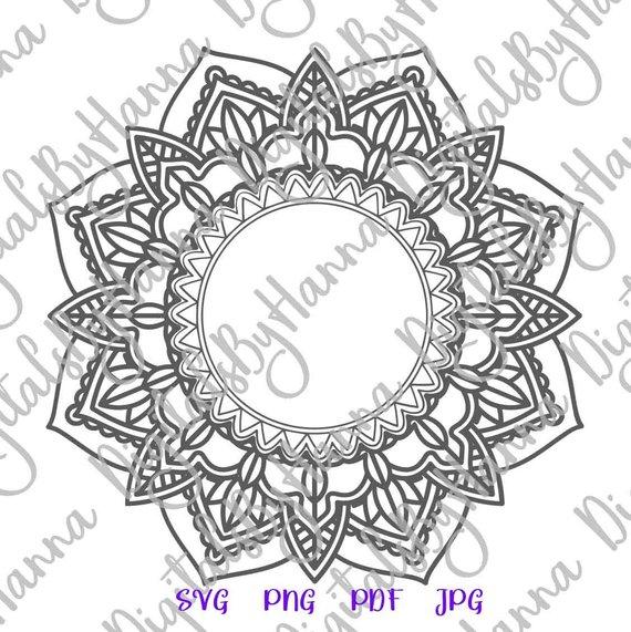Mandala Monogram Zentangle SVG Silhouette DXF Stencil Clipart Gift