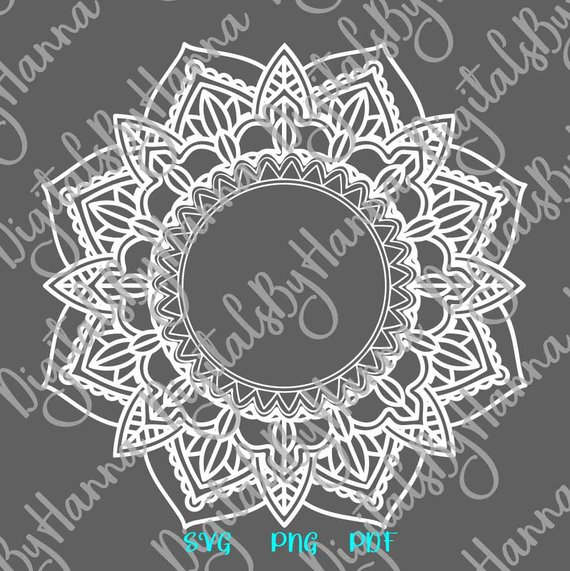 Mandala Monogram Zentangle Silhouette Pochoir SVG