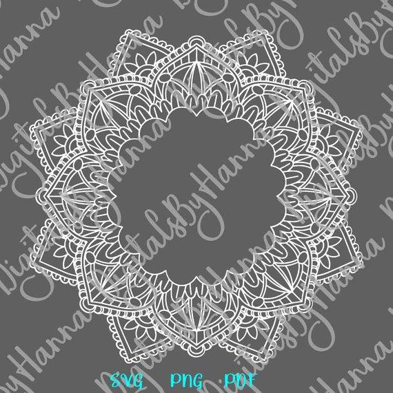 Mandala Monogram Zentangle Silhouette Pochoir SVG