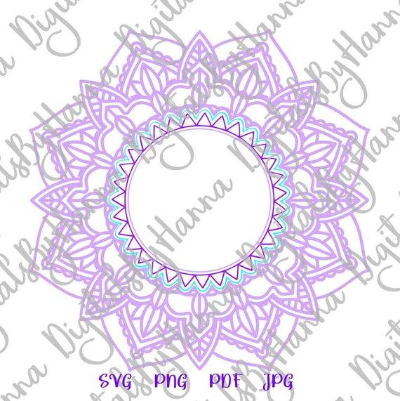 Mandala SVG Monogram Silhouette DXF Stencil Clipart Gift