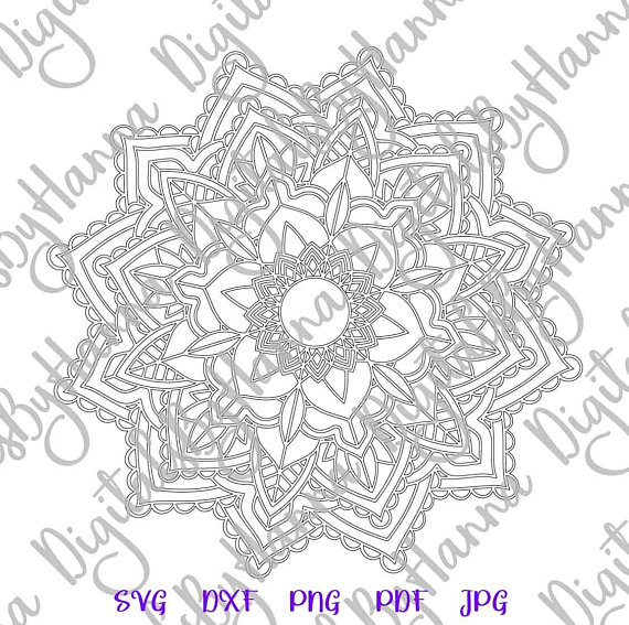 Mandala SVG Neon Light Silhouette Digital Clipart Bag