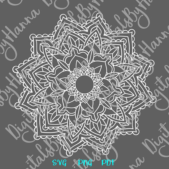Mandala SVG Neon Light Zentangle Silhouette Clipart