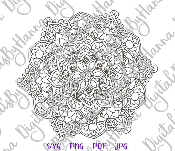 Mandala Silhouette DXF Digital Clipart Gift