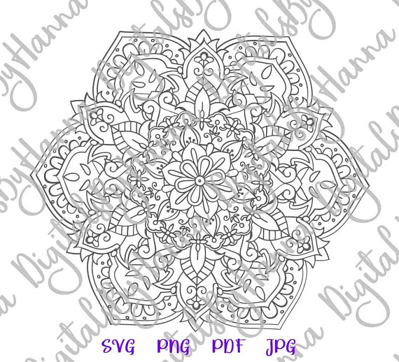 Mandala Silhouette SVG Digital Clipart Gift