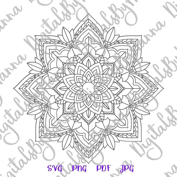 Mandala Stencil Silhouette SVG Digital Clipart Bag