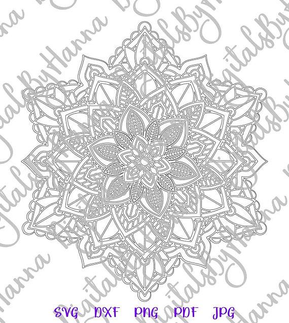 Mandala Stencil Silhouette SVG Digital Clipart Gift
