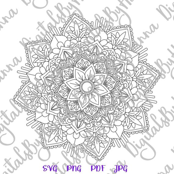 Mandala Stencil Silhouette SVG Vector Digital Clipart Bag