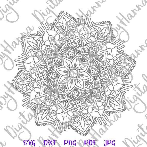 Mandala Zentangle SVG Silhouette DXF Stencil Clipart Gift