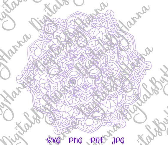 Mandala Zentangle Silhouette DXF Digital Clipart Gift