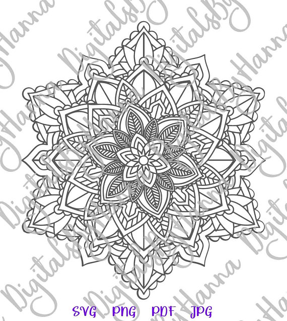 Mandala Zentangle Silhouette DXF Stencil Clipart Gift