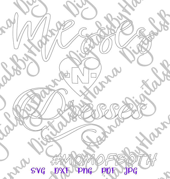 Messes and Dresses Silhouette DXF Digital Clipart Gift
