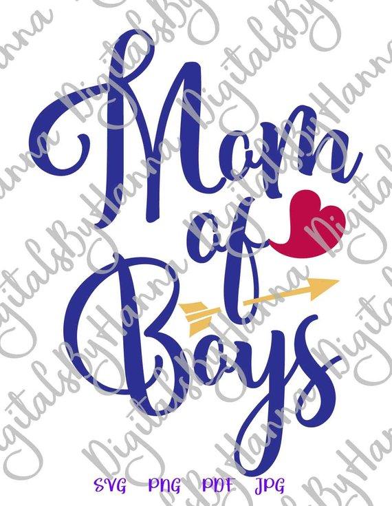 Mom of Boys Download Die Cut Iron on Vinyl Card Making