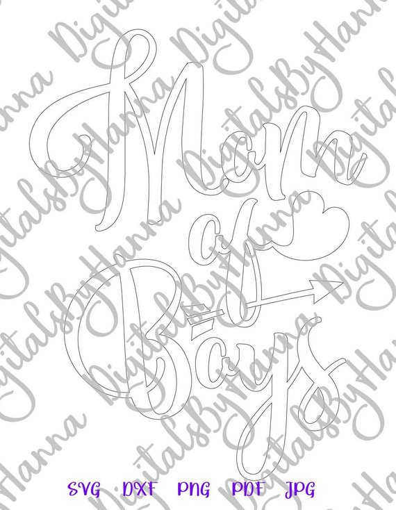 Mom of Boys Silhouette DXF Digital Clipart Gift