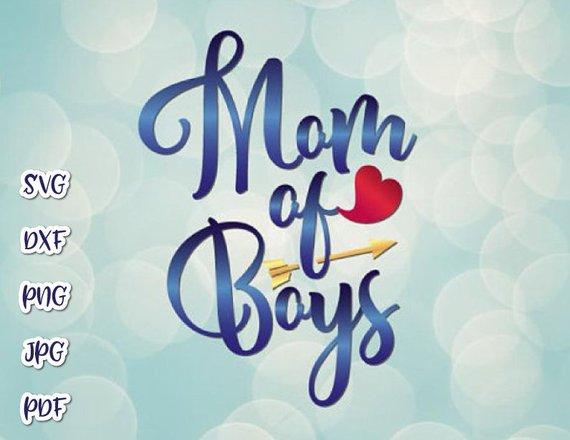 Mom of Boys Vector Clipart Momlife SVG File for Cricut