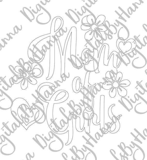 Mom of Girls Silhouette DXF Digital Clipart Gift
