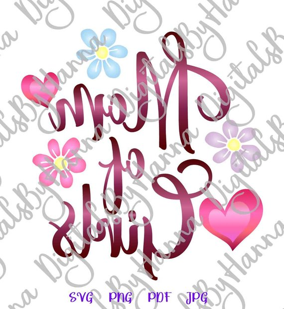 Mom of Girls Vector Clipart SVG File for Cricut