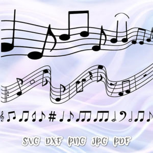 Music Notes Vector Clipart SVG File for Cricut