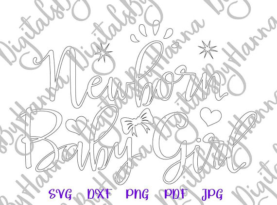 Newborn Baby Girl Silhouette DXF Digital Clipart Gift