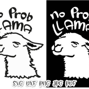 No-Prob Llama Vector Clipart Drama Llama SVG Files for Cricut