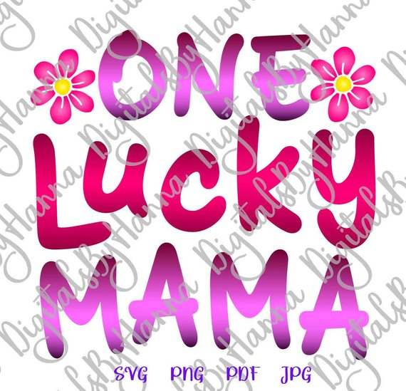 One Lucky Mama DIY Instant Download Die Cut Iron on Vinyl Card Making