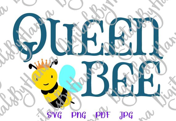 Queen Bee Vector Clipart SVG File for Cricut Gift
