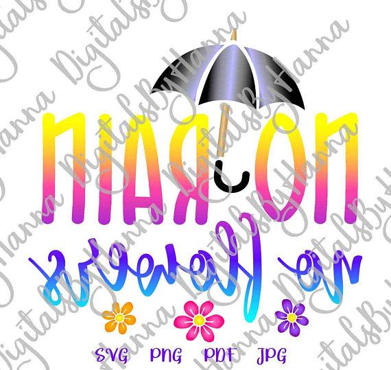 Rain Flowers Instant Download Die Cut Iron on Vinyl Card Making