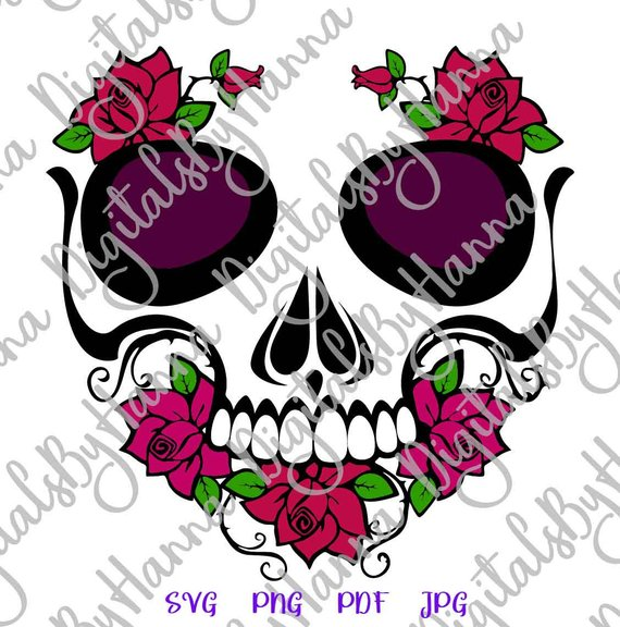 Sugar Skull Calavera Rose Flower Vector Clipart Decal