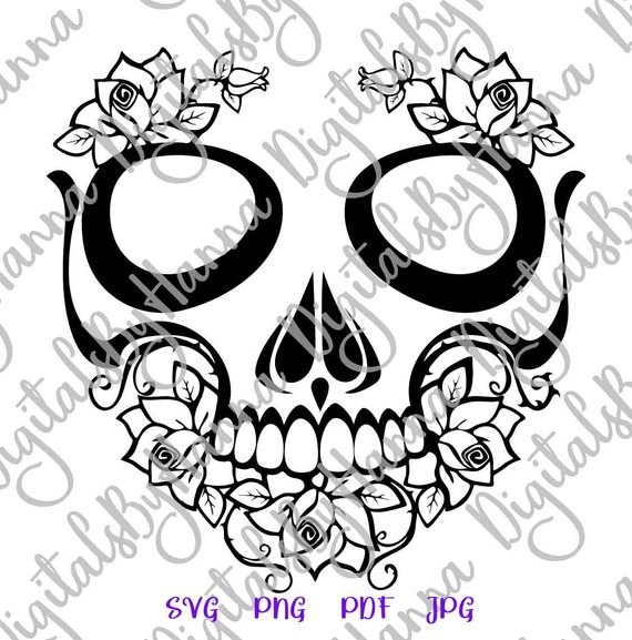 Sugar Skull Cuttable Shirt Decal Heat HTV Cutting